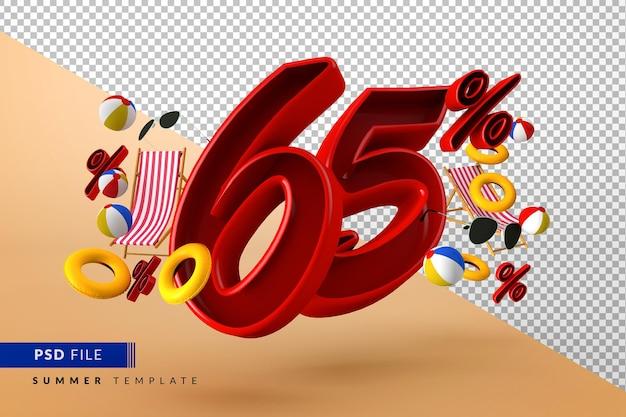 Летняя распродажа со скидкой 65% на рекламные акции и пляжные аксессуары Premium Psd