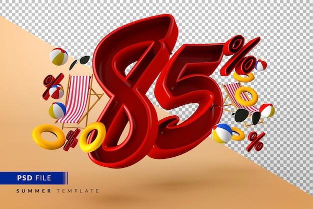 Летняя распродажа со скидкой 85% на рекламную акцию с изолированными пляжными принадлежностями