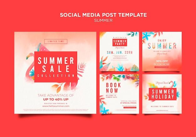 여름 판매 소셜 미디어 게시물 템플릿
