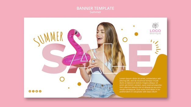 Summer sale template with picture