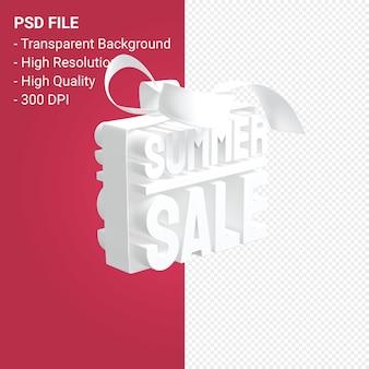 Летняя распродажа с бантом и лентой 3d-дизайн на изолированном фоне
