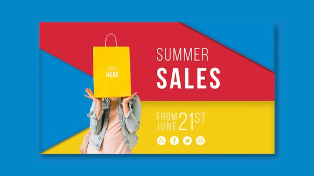 Summer sales banner template with colorful triangular shapes