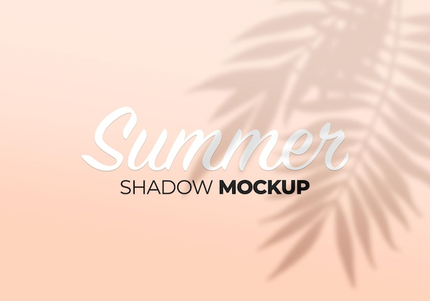 Summer shadow mockup of leaves background on a wall