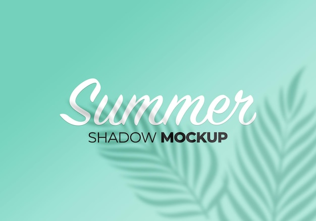 Summer of shadows overlay palm leaves mockup on wall