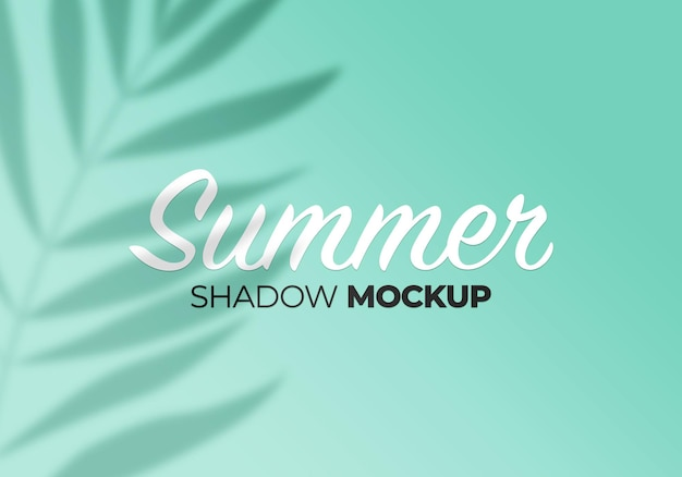 Summer of shadows palm leaves mockup on wall