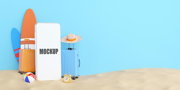 Summer shopping online concept, smartphone mockup with travel accessories on sand, 3d illustration