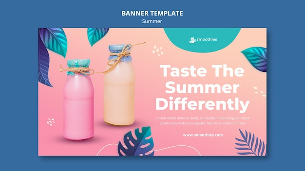 Summer smoothie banner template