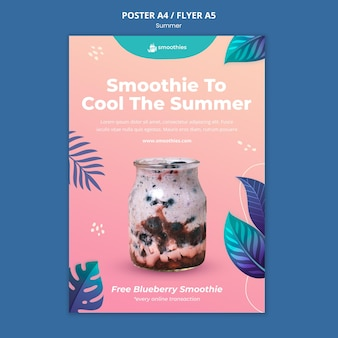 夏のスムージーポスターテンプレート