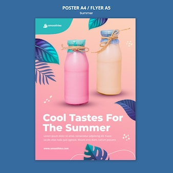 Summer smoothie poster template