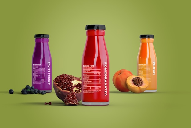 Summer smoothies on green background mock-up