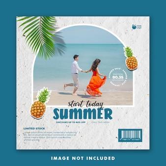 휴가를위한 여름 소셜 미디어 게시물 템플릿
