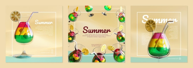 Summer social media post template with cocktail 3d rendering