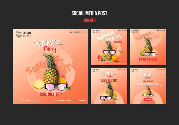 Summer social media posts Free Psd
