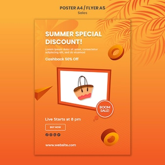 Summer special discount poster template