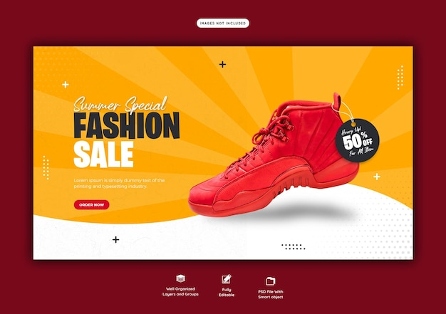 Summer special fashion sale web banner template