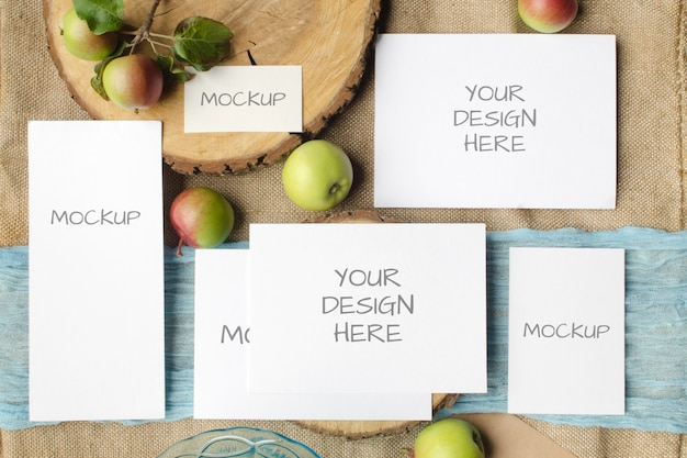 Summer stationery mockup set scene with with apples on beige