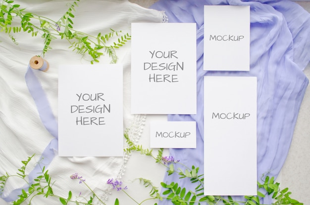 Summer stationery wedding mockup set cards with violet flowers and delicate silk ribbons on white