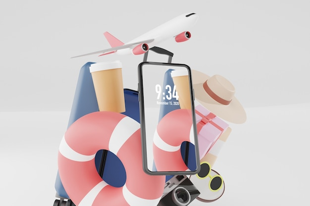 Summer stuff with mobile phone mockup in 3d illustration rendering