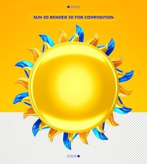 Летнее солнце 3d визуализации для композиции