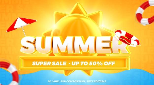 Summer super sale offer float realistic concept 3d render