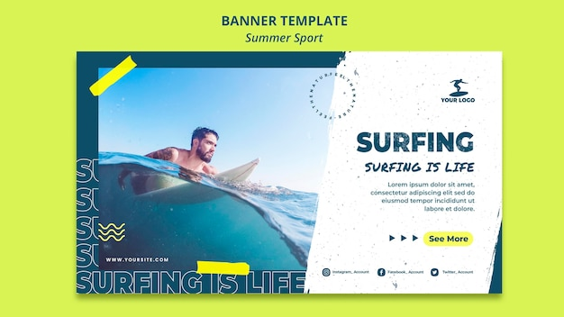 Summer surfing banner template concept