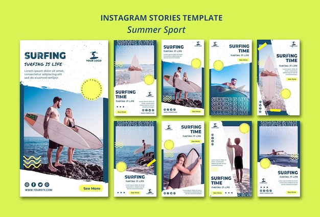 Summer surfing instagram stories template