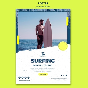 Summer surfing poster template
