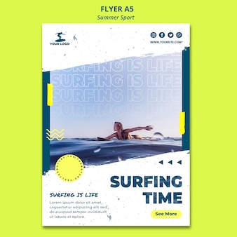 Summer surfing time poster template