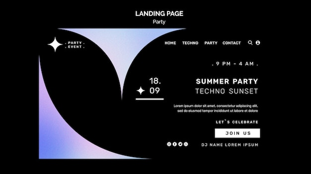 Pagina di destinazione della festa techno estiva