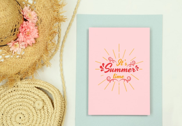 Summer template frame mockup with straw hat and bag