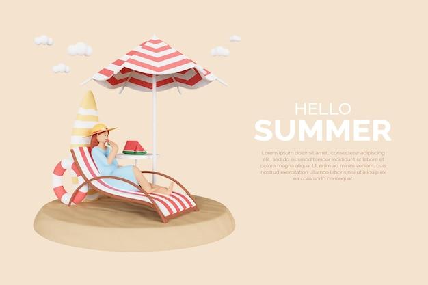3d 여성 캐릭터와 여름 템플릿