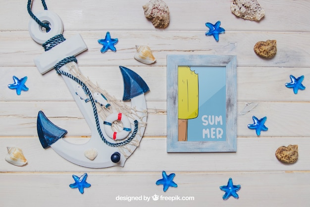 Summer theme with anchor and frame