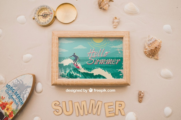 Summer theme with frame and surfboard