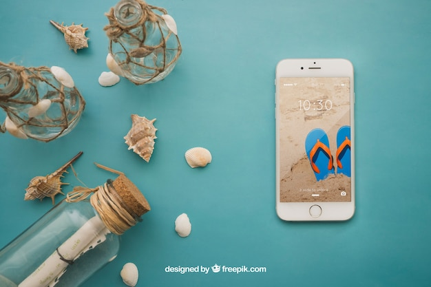 Summer theme with smartphone
