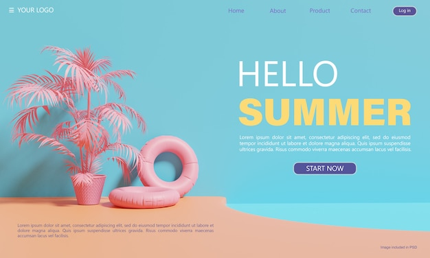 Summer-themed, landing page design template