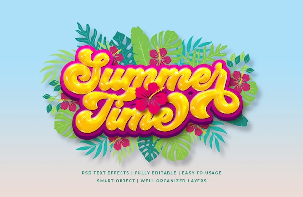 Summer time 3d text style effect