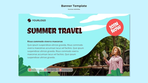 Summer travel banner template