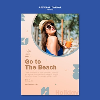 Summer travel flyer template