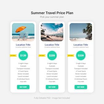 夏の旅行料金プラン表