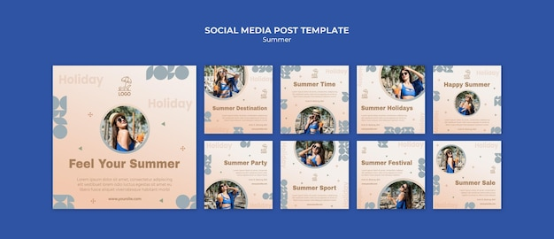 Summer travel social media post template