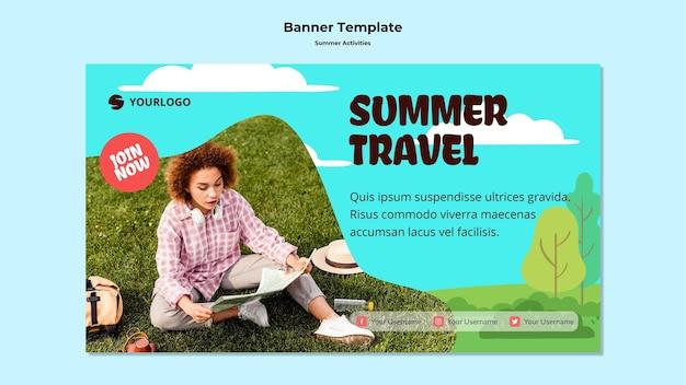 Летний туристический шаблон баннера