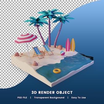 여름 열 대 해변 3d 렌더링