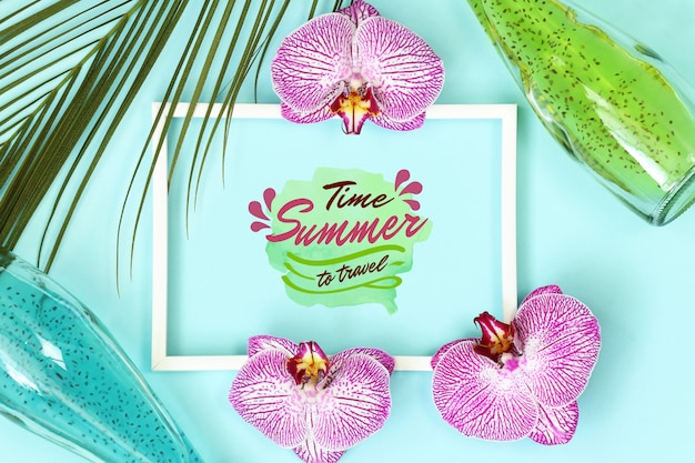 Summer tropical mockup frame with palm leaves
