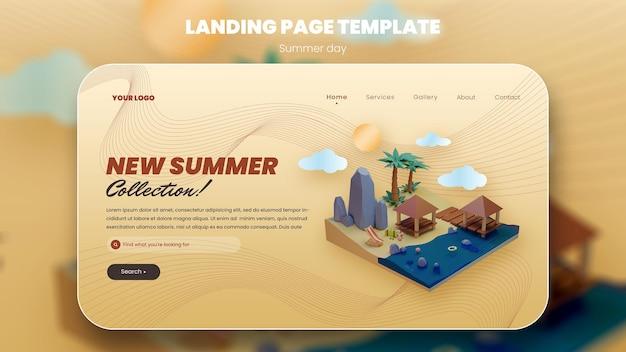 Концепция летних каникул баннер пляжный дизайн и путешествия 3d рендеринг премиум psd