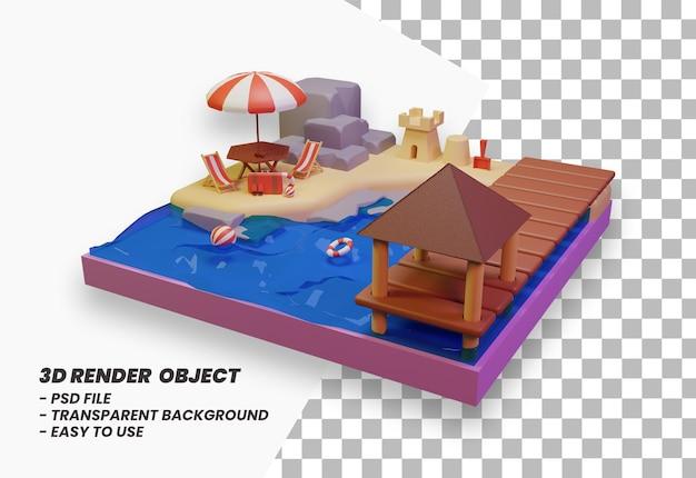 Летние каникулы концепция баннер пляж дизайн и путешествия 3d рендеринг