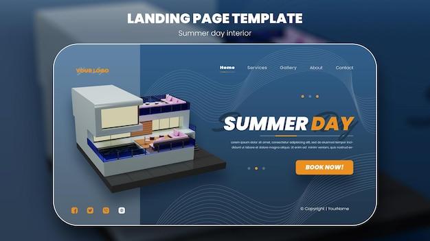 Летние каникулы концепция баннер летний дизайн экстерьера синий фон 3d рендеринг премиум psd
