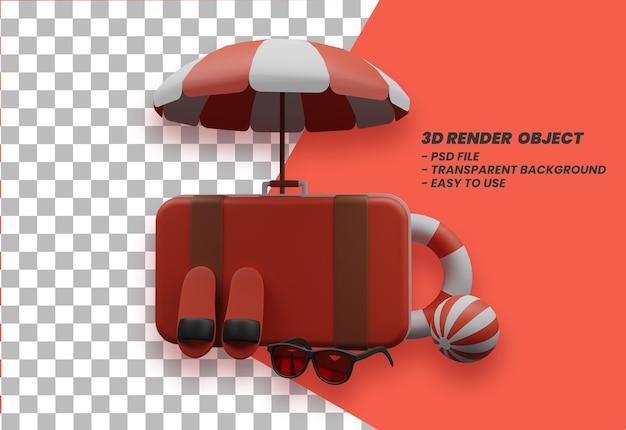 Летние каникулы концепция баннер летний дизайн объекта 3d рендеринг premium psd