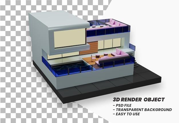 여름 휴가 개념 여름 외관 디자인 3d 렌더링