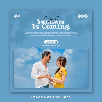 Summer vacation social media post template for couple