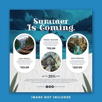 Summer vacation social media post template